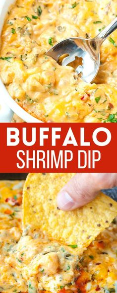 Whether you're partying it up with friends or whipping up a date-night spread at home, this easy cheesy Buffalo Shrimp Dip makes the perfect appetizer! Hot melty cheese with shrimp, veggies, and a kiss of hot sauce? Perfection! Easy Delicious Recipes, Easy Appetizer Recipes, Healthy Appetizers, Dip Recipes, Shrimp Recipes, Side Dish Recipes, Snack Recipes, Shrimp Dip, Party Dishes
