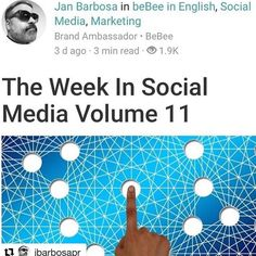 #Repost @jbarbosapr with @repostapp  The Week In Social Media Is Up !!! Great Articles by @tim_hughes1 @olliewhitfield96 @mallton & More !!! http://ift.tt/2ieXzbr #socialmedia #smm #seo #socialselling #marketing #media #influencermarketing