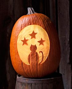 Use a carving tool to make this pumpkin silhouette.  Will last longer than a cut design!