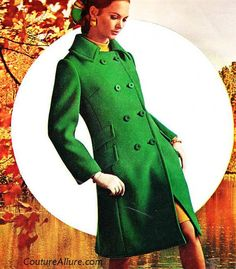 1966 Kelly Green Coat - I used to have a bright green, long coat. It looked about the same color as astroturf. I loved it. The lining came apart something awful and I had to get rid of it... Wouldn't mind getting another one.