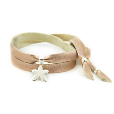 Mollie leather strap with silver frangipangi flower