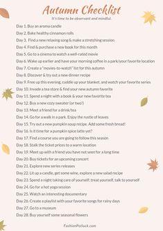 Autumn Self-Care Checklist Autumn Day, Hello Autumn, Winter, Herbst Bucket List, Fall Checklist, Fun Fall Activities, Christmas Activities, Autumn Aesthetic, Autumn Inspiration