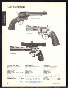 2005 COLT Single Action Army SAA, Python Elite, Anaconda Revolver AD #UnbrandedGeneric