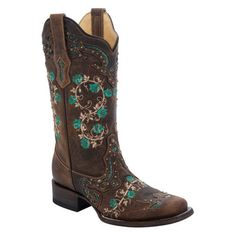 Corral - Women's Floral Embroidered & Studs Square Toe Boot