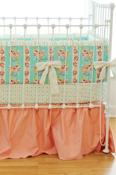 Mint and Peach Hope Chest Crib Bedding Set by LottieDaBaby on Etsy, $385.00