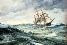 Stormy Seas with Lighthouse and Moon Pictures   Montague Dawson - Montague Dawson A Ship In Stormy Seas Painting