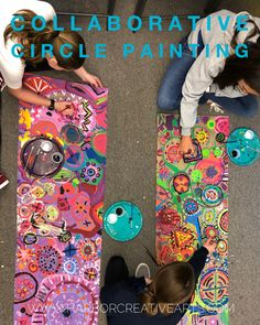 Circle Painting - A Case for Collaboration - group painting project, middle school high school community activity — Harbor Creative Arts projects for high school ideas Art Club Projects, Family Art Projects, Middle School Art Projects, Art Projects For Teens, Art School, Group Projects, Project Ideas, School Ideas, Painting Lessons