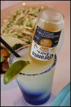 The Corona-Rita: Frozen limeade concentrate, water, Sprite, tequila and one Corona.