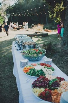 simple wedding buffet for backyard wedding / http://www.deerpearlflowers.com/barbecue-bbq-wedding-ideas/ #WeddingIdeasCenterpieces