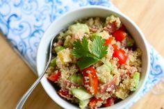 Cold Quinoa & Veggie Salad from Tasty Kitchen.  I used normal Italian dressing and it was fabulous.
