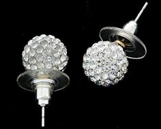 New fashion super bling disco ball crystal stud earrings for women New SHEA14 by Bonamart. $1.99. 1.Brand new and high quality 2.Color and design as the picture shows 3.Style:fashion 4.Material:10mm Crystal stone beads (approx 80-90 crystals Each Bead) & silver-plated alloy  5.Weight: 3g 6.Crystal ball diameter : 1CM     7.Package included: One pair of brand new earrings     lisiting key:10412  Product Description:  This beautiful crystal stud earrings feature pave set Swar...