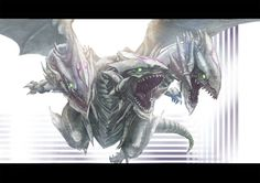 three headed blue eyes white dragon - Google Search