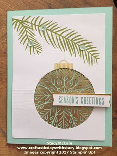 Craftastic Days with Stacy: Paper Pumpkin Samples - October 2017 - Pining for Plaid Christmas Cards 2017, Stampin Up Christmas, Christmas Music, Christmas Love, Xmas Cards, Diy Cards, Pumpkin Cards, Paper Pumpkin, Snowflake Cards