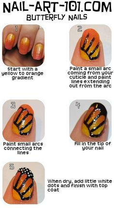 DIY ombre with butterfly wings nails, step by step instructions.