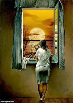 Dali Girl Looking at the Moon Through the Window