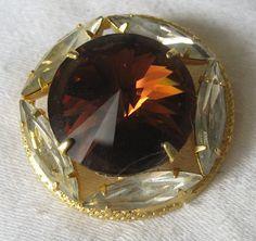 Large VINTAGE Amber Glass