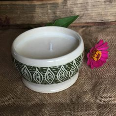 Ceramic Container Candle with Unscented Soy Wax