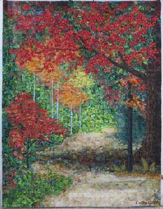 """Cathy Geier's Quilty Art Blog: Progress on """"Come Walk with Me"""" quilt and Poetry"""
