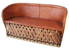 """Handcrafted equipale sofa from Mexico.  60"""" w x 22"""" d x 32"""" h"""