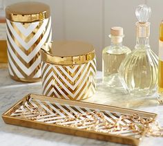 gold chevron canister and trays http://rstyle.me/n/vnz2hr9te