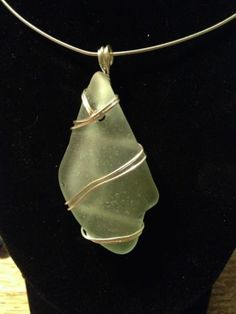 Genuine aqua sea glass necklace