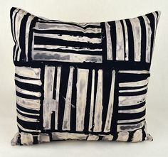 Wide Weave Square Pillow by Ayn Hanna: Cotton & Linen Pillow available at www.artfulhome.com