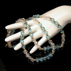 MONET Mid Century Aqua Blue Glass Beads Vintage Necklace Faux Crystals Pretty 36 inches Long #MyClassicJewelry