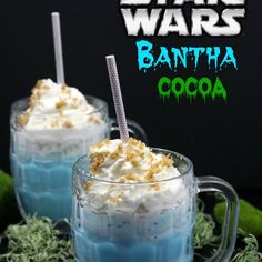 Star Wars Bantha Cocoa Recipe Desserts, Beverages with milk, vanilla extract, white chocolate chips, food colouring, whipped cream