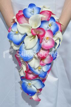 Ivory, Fuchsia & Blue Calla Lily & Orchid Wedding Bridal Bouquet