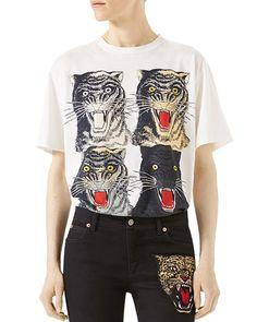 GUCCI Tiger Face T-Shirt, White Pattern. #gucci #cloth #