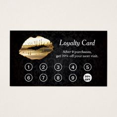 Buy 9 Get 10th Discount 3D Gold Lips Loyalty Card - makeup artist gifts style stylish unique custom stylist