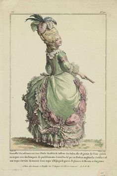 Historic Ladies in Fashion- fashion plates from the and early centuries. Rococo Fashion, French Fashion, Vintage Fashion, Vintage Couture, Fashion Fashion, Costume Français, Costumes, Costume Ideas, Theatrical Scenery