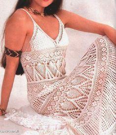 As Receitas de Crochê: Vestido longo em crochê