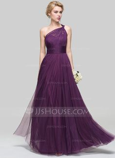 A-Line/Princess One-Shoulder Floor-Length Ruffle Zipper Up at Side Regular Straps Sleeveless No Grape Spring Summer Fall General Plus Tulle Bridesmaid Dress