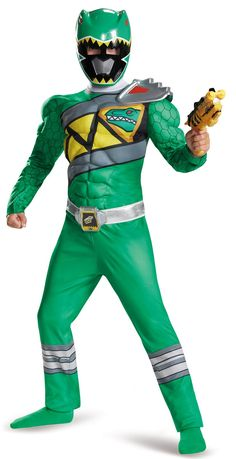 Power Rangers Dino Charge Green Ranger Muscle Child Costume