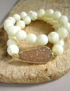 Agate Druzy Bracelet Drusy Quartz Mother of by julianneblumlo