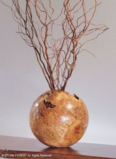Color branches and whitewash with different tones and staple onto fence.   StoneForest.com Burl Wood Vase