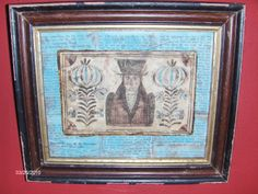 Fraktur Bookplate of a Gentleman by Steve Shelton in an early frame. (SOLD)
