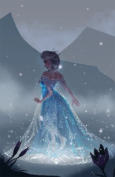 Disney Princess Elsa walking in starlit night Moana Disney, Disney Pixar, Walt Disney, Disney Fan Art, Disney And Dreamworks, Disney Animation, Disney Love, Disney Magic, Disney Frozen