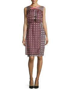 Sleeveless Geometric-Print Dress, Smoky Umber Multi, Size: 12 - Carolina Herrera