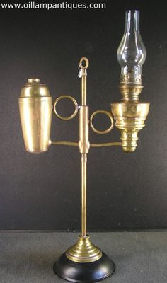 Antique brass student lamp. Maker unknown