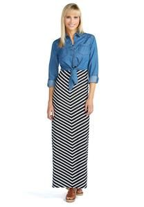 Stripe Maxi Dress and Chambray Tie Shirt Set - Plus