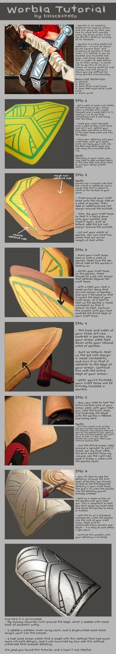Economical detailing using layers of craft foam and worbla. Tutorial by *Bllacksheep on deviantART