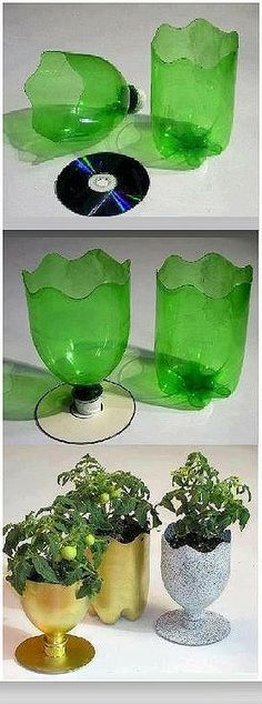 Recycle - plastic bottles and paper plates, cups, empty cartons to make lovely craft articles. Cd Crafts, Vase Crafts, Diy And Crafts, Crafts For Kids, Christmas Nativity Scene, Christmas Diy, Cd Diy, Flower Pots, Flowers
