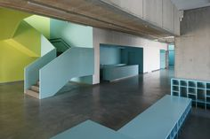 Made // Saldus Music and Art school // lime green and light blue concrete interior Architecture Design, Education Architecture, School Architecture, Music School, Art School, School Kids, Kindergarten Design, Concrete Interiors, Classroom Design