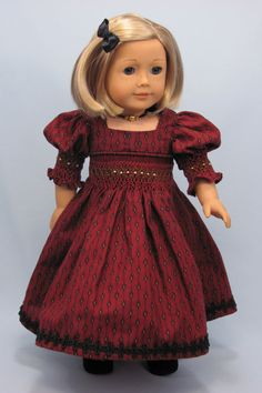 American Girl 18 inch doll 1880's Smocked Historical style Dress