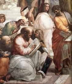 Raphael ~ The School of Athens detail. Hypatia in whites was the only woman philosopher in the picture. One of the greatest.