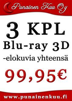 3 kpl 3D Blu-ray -elokuvia 99,95 €