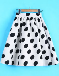 White Polka Dot Flare Skirt US$28.33