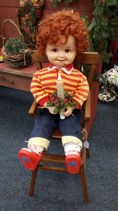 Vintage Corky Doll Christmas Doll Decoration by colonialcrafts